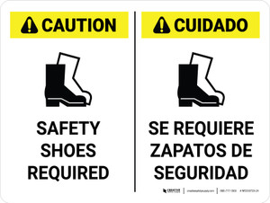 Caution: Safety Shoes Required Bilingual Landscape - Wall Sign