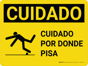 Caution: Watch Where You Step Spanish with GraphicLandscape - Wall Sign