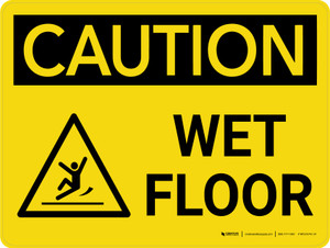 Caution: Wet Floor with Icon Landscape - Wall Sign