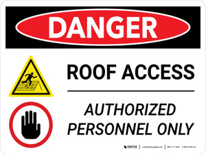 Danger: Roof Access Authorized Personnel Only with Icons Landscape - Wall Sign
