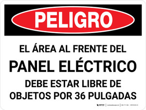 Danger: Spanish Area In Front Of Electrical Panel Landscape - Wall Sign