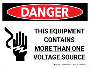 Danger: This Equipment Contains More Than One Voltage Source with Graphic Landscape - Wall Sign