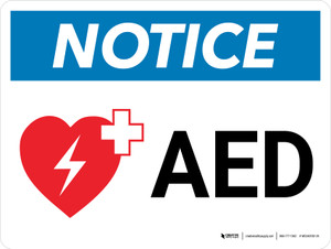Notice: AED with Icon Landscape - Wall Sign