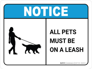 Notice: All Pets Must Be On Leash Dog Walker Icon Landscape - Wall Sign
