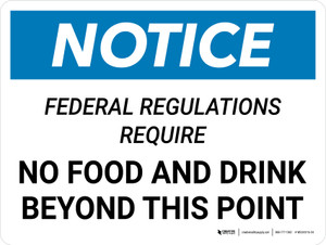 Notice: Federal Regulations Require No Food or Drink Beyond This Point Landscape - Wall Sign