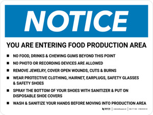 Notice: Food Production Area Bulleted List Landscape - Wall Sign