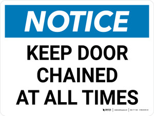 Notice: Keep Door Chained at All Times Landscape - Wall Sign
