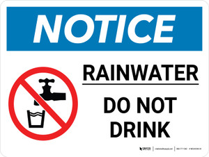 Notice: Rainwater - Do Not Drink with Icon Landscape - Wall Sign