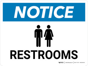 Notice: Restrooms with Icon Landscape - Wall Sign