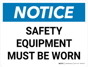 Notice: Safety Equipment Must be Worn Landscape - Wall Sign