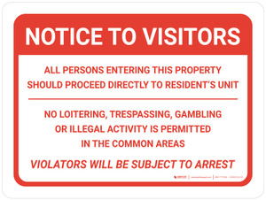 Notice: To Visitors No Trespassing - Violators will be Subject to Arrest Landscape - Wall Sign
