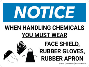 Notice: When Handling Chemicals You Must Wear PPE with Icons Landscape - Wall Sign