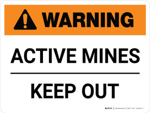 Warning: Active Mines Keep Out Landscape - Wall Sign