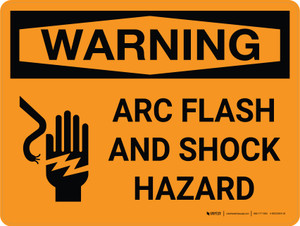 Warning: Arc Flash and Shock Hazard with Icon Landscape - Wall Sign