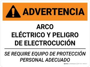 Warning: Arc Flash Shock Hazard PPE Required Spanish Landscape - Wall Sign