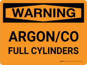 Warning: Argon/CO Full Cylinders Landscape - Wall Sign