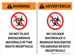 Warning: Do Not Place Biohazardous Materials in Waste Receptacle Bilingual Spanish Landscape - Wall Sign