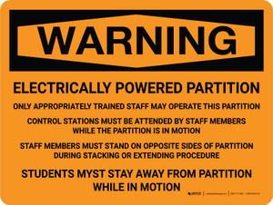 Warning: Electric Powered Partition Landscape - Wall Sign