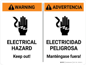 Warning: Electrical Hazard Keep Out Bilingual Spanish Landscape - Wall Sign