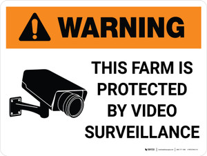 Warning: This Farm Is Protected By Video Surveillance with Icon Landscape - Wall Sign
