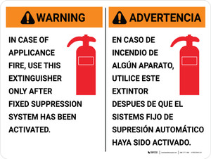 Warning: Fire Extinguisher Instruction Bilingual Spanish Landscape - Wall Sign
