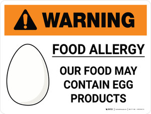 Warning: Food Allergy Food May Contain Egg with Icon Landscape - Wall Sign