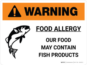 Warning: Food Allergy Our Food May Contain Fish Products Landscape - Wall Sign