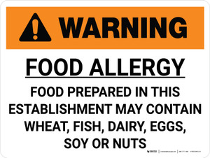 Warning: Food Allergy Our Food May Contain Wheat Fish Dairy Eggs Landscape - Wall Sign