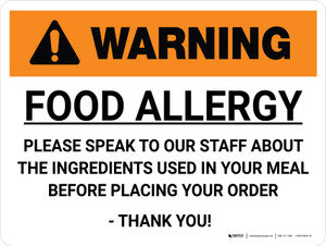 Warning: Food Allergy Please Speak to Our Staff Landscape - Wall Sign
