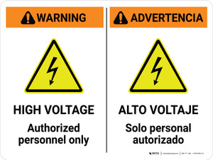 Warning: High Voltage Authorized Personnel Only Bilingual Spanish Landscape - Wall Sign