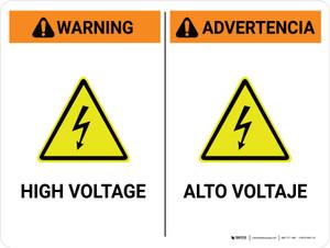 Warning: High Voltage Bilingual Spanish Landscape - Wall Sign