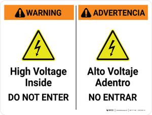 Warning: High Voltage Inside Do Not Enter Bilingual Spanish Landscape - Wall Sign