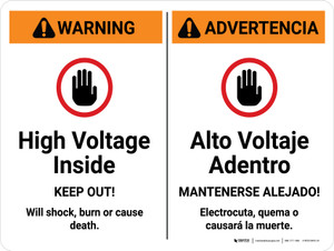 Warning: High Voltage Inside Keep Out Bilingual Spanish Landscape - Wall Sign