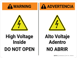 Warning: High Voltage Inside - Do Not Open Bilingual Spanish Landscape - Wall Sign