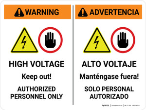 Warning: High Voltage Keep Out Authorized Bilingual Spanish Landscape - Wall Sign
