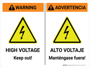 Warning: High Voltage Keep Out Bilingual Spanish Landscape - Wall Sign