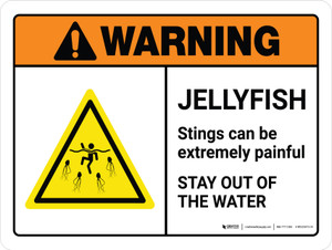 Warning: Jellyfish Stings Can Be Painful Stay Out Of Water with Icon Landscape - Wall Sign