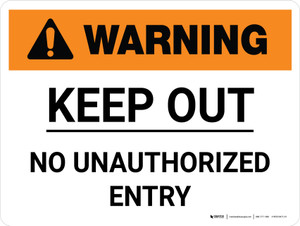 Warning: Keep Out No Unauthorized Entry Landscape - Wall Sign