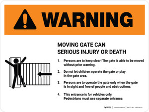 Warning: Moving Gate Can Cause Serious Injury or Death with Icon Landscape - Wall Sign