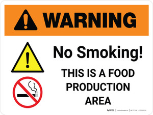 Warning: No Smoking - This is a Food Production Area with Icon Landscape - Wall Sign
