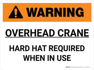 Warning: Overhead Crane Hard Hat Required When in Use Landscape - Wall Sign