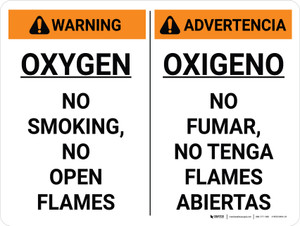 Warning: Oxygen No Smoking No open Flames Bilingual Spanish Landscape - Wall Sign
