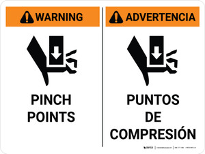 Warning: Pinch Points Bilingual Spanish with Icon Landscape - Wall Sign