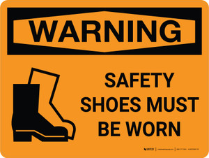 Warning: PPE Safety Shoes Must be Worn with Icon Landscape - Wall Sign