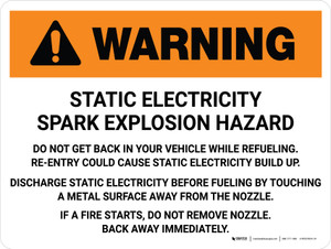 Warning: Static Electricity Spark Explosion Hazard Landscape - Wall Sign