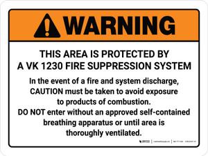 Warning: VK 1230 Fire Supression System Landscape - Wall Sign