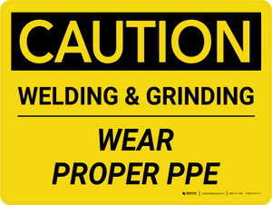 Caution: Welding & Grinding Wear Proper PPE Landscape - Wall Sign