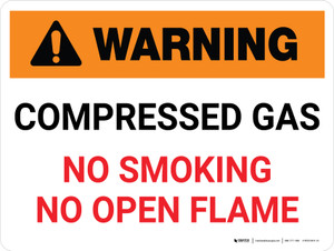 Warning: Compresses Gas No Smoking, Open Flame Landscape - Wall Sign