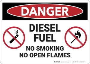 Danger: Diesel Fuel No Smoking Open Flames - Wall Sign