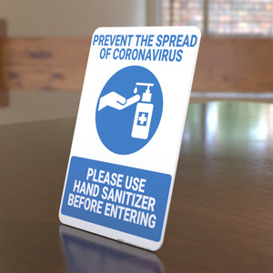 Prevent Coronavirus - Please Use Hand Sanitizer - Desktop Sign